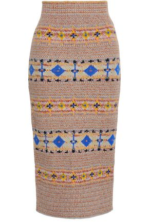 VICTORIA BECKHAM Jacquard-knit midi pencil skirt