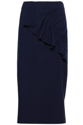 TIBI Ruffled stretch-knit midi skirt