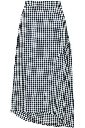 TIBI Asymmetric gingham woven skirt