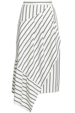 TIBI Asymmetric striped twill skirt