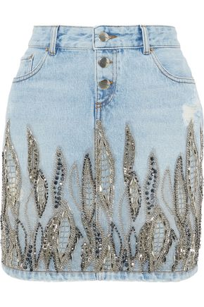 EACH X OTHER Embellished distressed denim mini pencil skirt