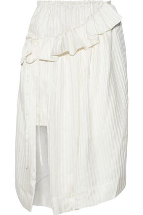 STELLA McCARTNEY Layered striped silk-satin skirt
