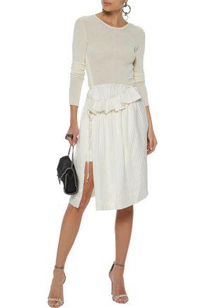 STELLA McCARTNEY Layered striped silk-satin skirt