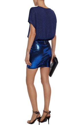 RTA Blossom metallic cracked stretch-leather mini skirt