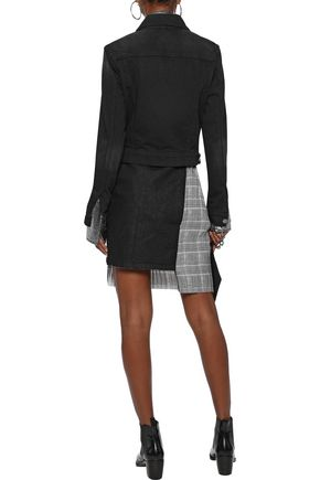 EACH X OTHER Denim-paneled pleated Prince of Wales checked cady mini skirt