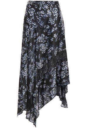 FLEUR DU MAL Asymmetric chiffon-paneled floral-print silk-satin skirt