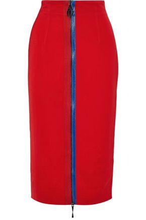 CUSHNIE Zip-detailed stretch-crepe pencil skirt