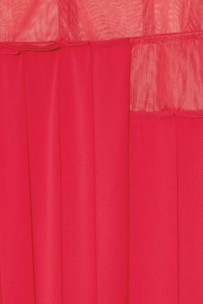 VICTORIA BECKHAM Mesh-paneled pleated crepe de chine midi skirt