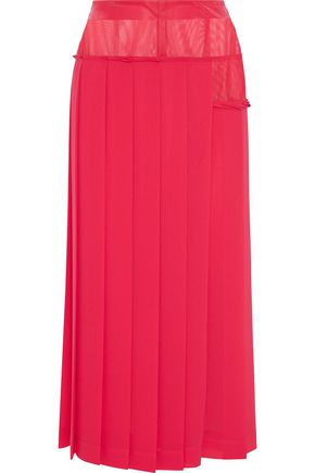 VICTORIA BECKHAM Mesh-paneled pleated crepe de chine midi skirt