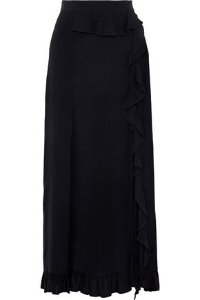 IRO Beklie ruffle-trimmed crepe maxi skirt