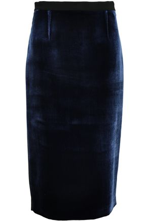 ROLAND MOURET Arreton velvet and stretch-crepe pencil skirt