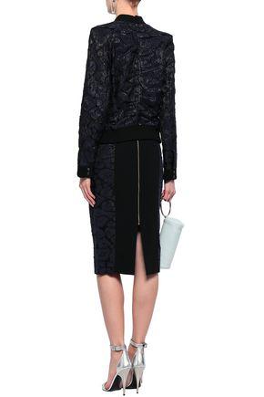 ROLAND MOURET Fil coupé and crepe pencil skirt
