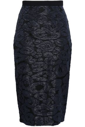 ROLAND MOURET Fil coupé and crepe pencil skirt