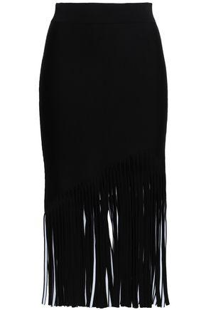 CUSHNIE Fringed jacquard-knit midi skirt