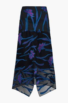 ROLAND MOURET Hilston floral jacquard midi skirt