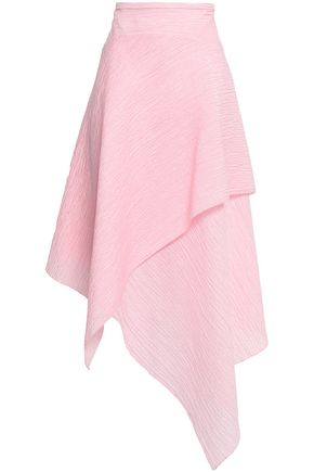 ROLAND MOURET Alkham wrap-effect cotton-blend seersucker midi skirt