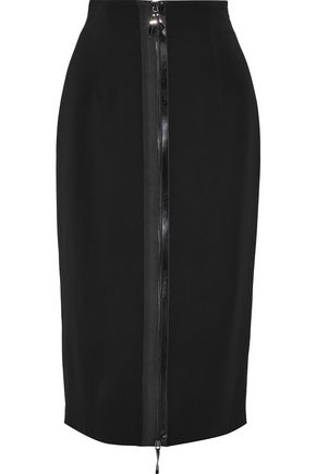 CUSHNIE Zip-detailed stretch-crepe pencil skirt