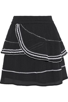 IRO Oviane layered embroidered gauze mini skirt