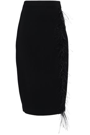 CUSHNIE Feather-trimmed crepe pencil skirt