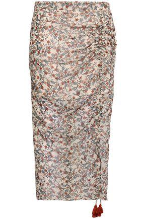 REBECCA MINKOFF Romi ruched floral-print gauze midi skirt