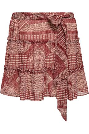 REBECCA MINKOFF Cherly tiered printed gauze mini skirt