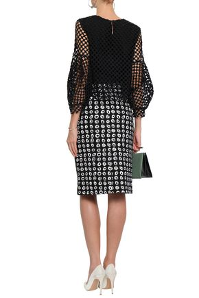 OSCAR DE LA RENTA Printed cotton-blend bouclé-tweed pencil skirt