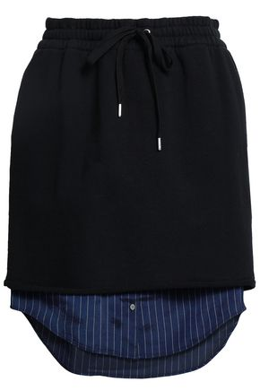 ALEXANDERWANG.T Paneled French cotton-terry and striped twill skirt