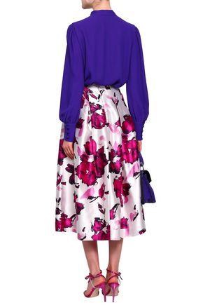 OSCAR DE LA RENTA Pleated printed duchesse silk-satin midi skirt