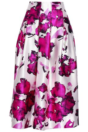OSCAR DE LA RENTA Pleated printed duchesse silk-satin midi skirt