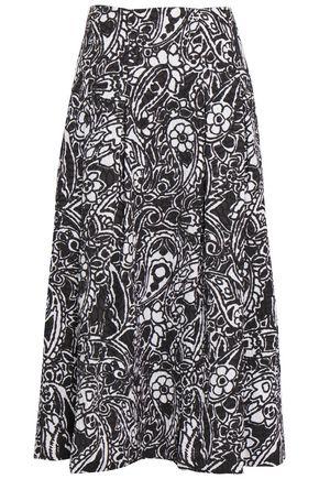 OSCAR DE LA RENTA Pleated printed cloqué midi skirt