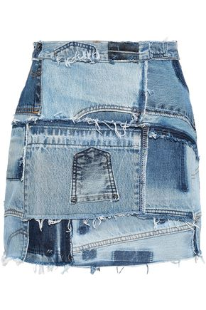 RE/DONE by LEVI'S Distressed patchwork mini skirt