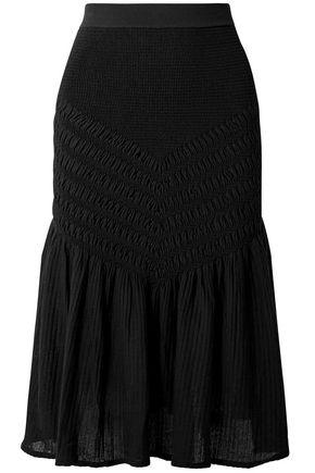 JONATHAN SIMKHAI Smocked stretch cotton-blend midi skirt