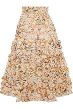 ZIMMERMANN Tiered printed linen and silk-blend midi skirt