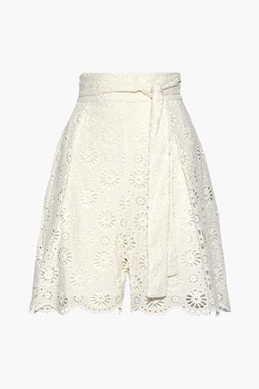 ZIMMERMANN Belted broderie anglaise cotton shorts