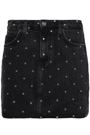 CURRENT/ELLIOTT Polka-dot denim mini skirt