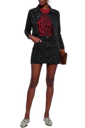 CURRENT/ELLIOTT Polka-dot denim mini skirt