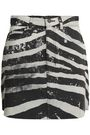 MARC JACOBS Coated zebra-print denim mini skirt