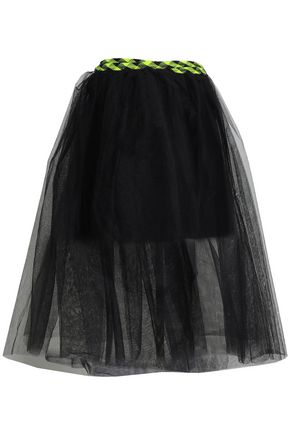 MARC JACOBS Knit-trimmed tulle midi wrap skirt