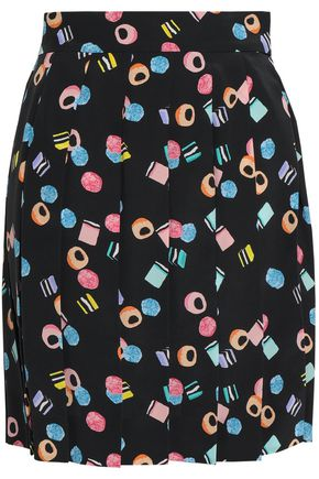 MARC JACOBS Pleated printed silk crepe de chine mini skirt