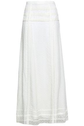 OSCAR DE LA RENTA Lace-trimmed fil coupé silk maxi skirt