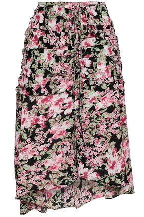W118 by WALTER BAKER Phyllis ruched floral-print crepe midi skirt