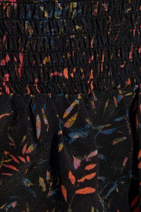 IRO Layered printed washed-silk mini skirt