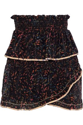 IRO Layered printed washed-silk mini skirt