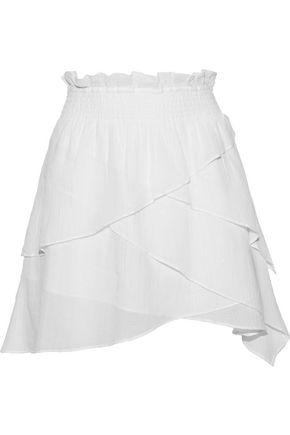IRO Ruplea layered metallic cotton-blend voile mini skirt