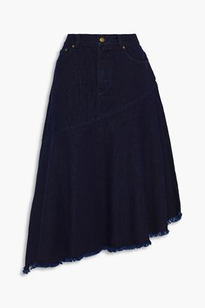 ZIMMERMANN Asymmetric frayed denim midi skirt