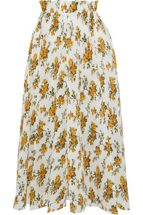 ZIMMERMANN Golden pleated floral-print plissé midi skirt