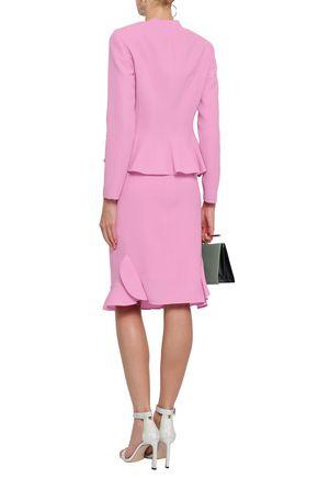 OSCAR DE LA RENTA Ruffle-trimmed wool-crepe skirt