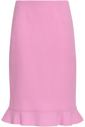 OSCAR DE LA RENTA Fluted wool-crepe skirt