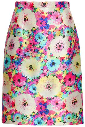 OSCAR DE LA RENTA Printed silk and cotton-blend twill pencil skirt