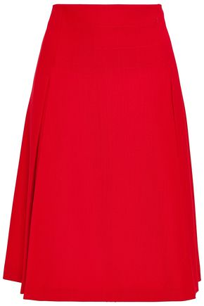 PIAZZA SEMPIONE Flared pleated stretch-twill skirt